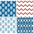Set of blue and red ikat geometric seamless vector image vector image