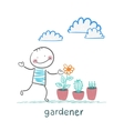 gardener looking for plants vector image vector image