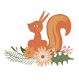 Floral design with squirrel vector image