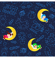 seamless pattern with children sleeping on moon vector image vector image
