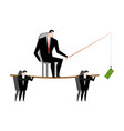 business motivation boss holding dollar fishing vector image