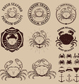 Set of the crab meat labels emblems and design vector image