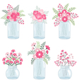 Pink Flowers In Jars vector image