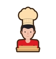 character delivery man hat restaurant delivery box vector image
