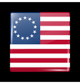 American Betsy Ross Flag Glossy Icon Square Shape