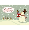 Snowman with gifts Greeting card vector image