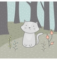 Cute hand drawn card with a cat and flowers in the vector image