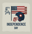 independence day with american helmet and flag vector image