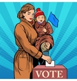 Mother and child women vote in elections vector image