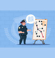 police woman planning action on white board vector image