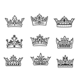 Set of royal crowns vector image vector image
