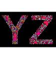 letter y z valentine alphabet vector image vector image