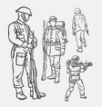 army soldier pose action hand drawing vector image