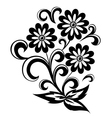 black and white abstract flower with leaves vector image