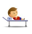 Boy ill on medic barrow vector image