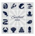 seafood menu silhouette icon vector image