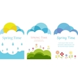 Spring time Three cards with clouds sun and vector image