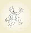 Postman sketch vector image vector image