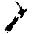 Silhouette map of New Zealand vector image