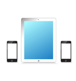 Black and white modern tablet phone on white vector image