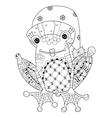 Cute Frog Prince in christmas hat sketch vector image