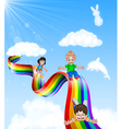 Cartoon little kids playing slide on rainbow vector image vector image