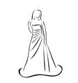 Bride in wedding dress vector image