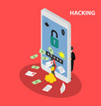 hacking smartphone database vector image