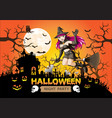 halloween night party witch on orange full moon vector image