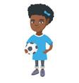 little african girl holding a football ball vector image