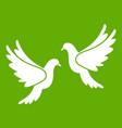 wedding doves icon green vector image