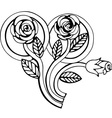 Wedding rings and bunch of roses vector image