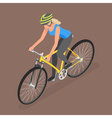 Isometric woman ride on bicycle vector image