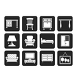 Silhouette Home Equipment and Furniture icons vector image vector image