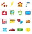 Monthly expenses costs flat icons vector image