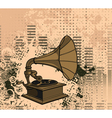 old gramophone with grunge background vector image