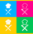 chef with knife and fork sign four styles of icon vector image