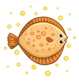 Cute cartoon flatfish isolated vector image