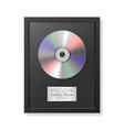 realistic cd and label in glossy black vector image