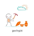 Geologists hold a hammer and stands near the vector image