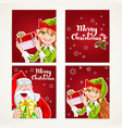 Santa Claus and Elf with gift on Christmas vector image vector image