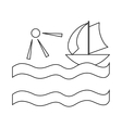 Yacht and sun icon in outline style vector image