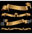 Gold glossy ribbons on a black background vector image vector image