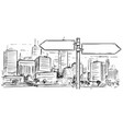 drawing of empty blank traffic road sign on city vector image