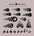 fireballs and flame icons vector image