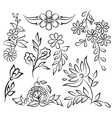 abstract black and white floral set vector image vector image