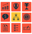 set of 9 management icons includes job applicants vector image