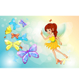 A fairy with colorful butterflies vector image