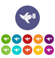 pigeon fly with mail icons set flat vector image
