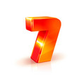 shiny orange red 3d number 7 isolated on white vector image vector image